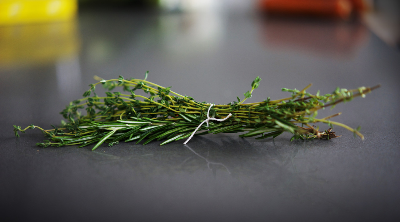 Rosemary and Thyme tied with kitchen twine