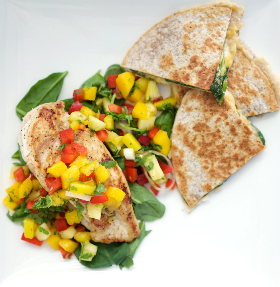 shot from above, chicken with mango salsa, with quesadillas on the side
