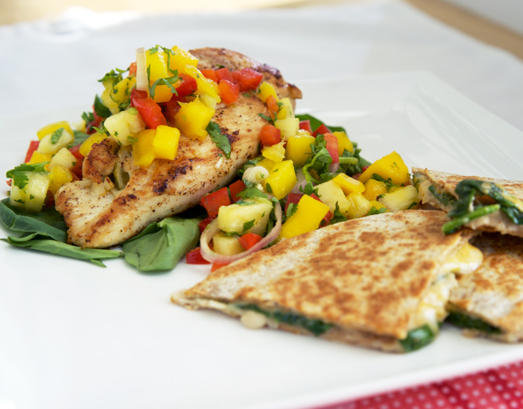 Mango Salsa with Garlic Lime Chicken with Quesadillas