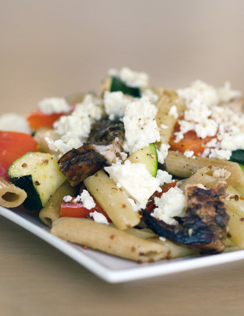 Penne with balsamic chicken and roasted zucchini and red peppers with feta
