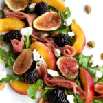 Peach fig proscuitto salad closeup