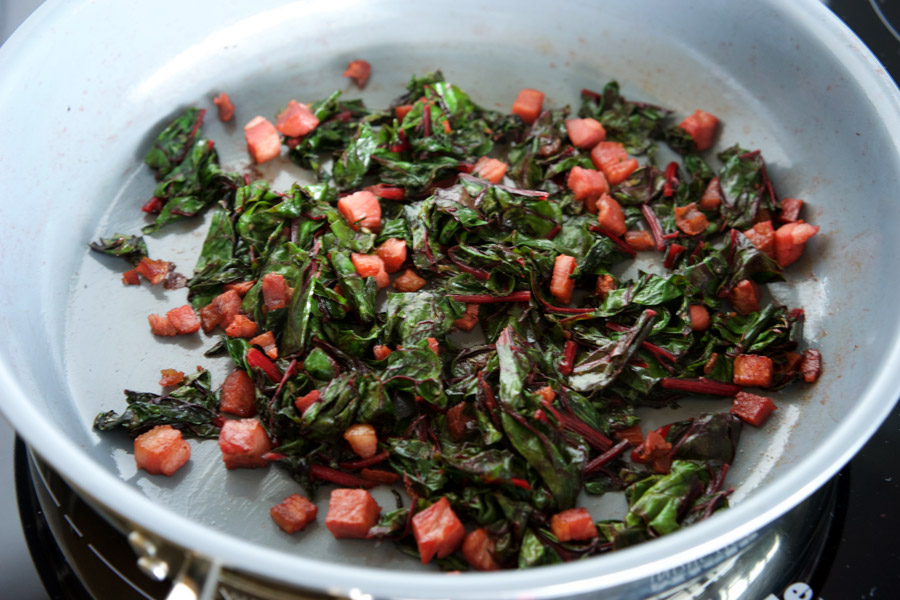 Swiss chard shrinks as it cooks to reveal the pancetta