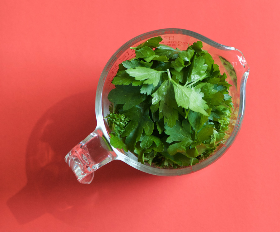 Parsley packed into a 2-cup pyrex