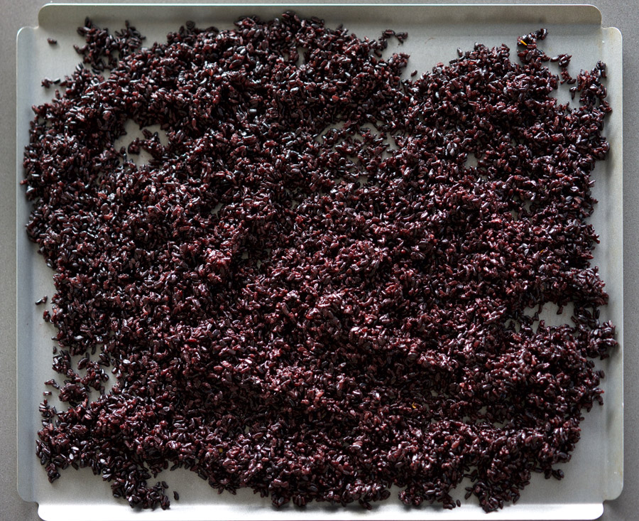 Black rice spread evenly onto rimmed baking sheet