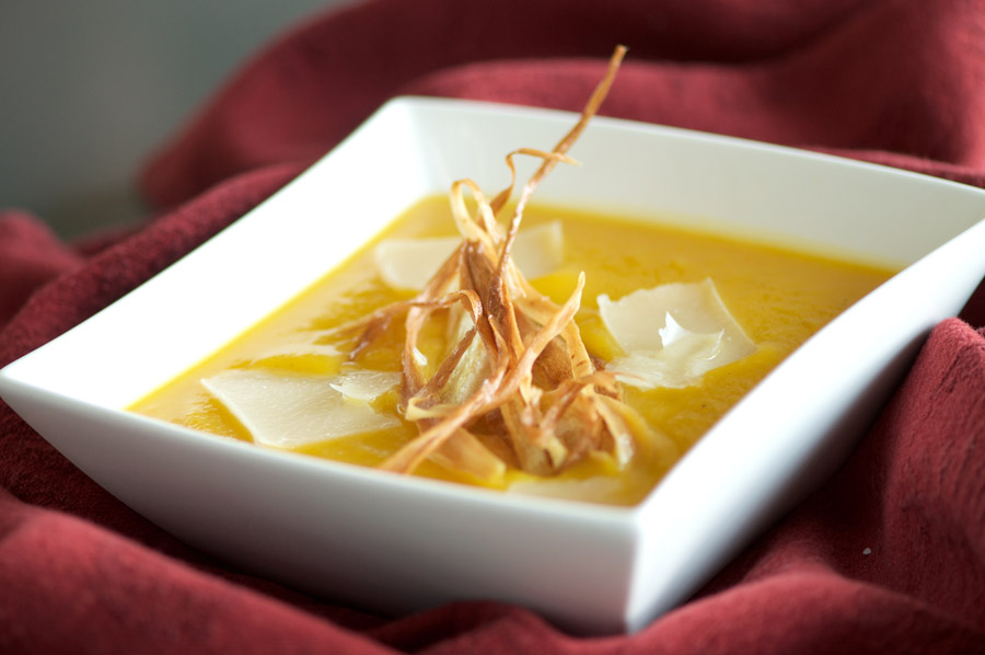 The earthy sweetness of parsnip chips offset the gingery squash soup