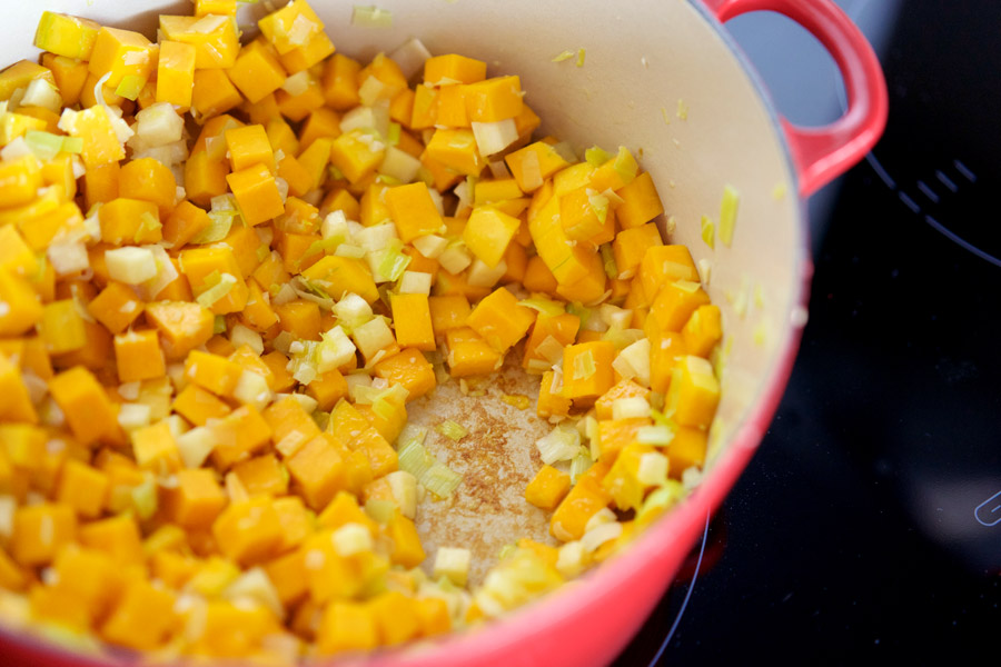 saute butternut, ginger and parsnip until a golden crust forms at the bottom of the pot