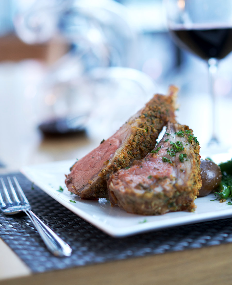 Elegant rack of lamb on a plate