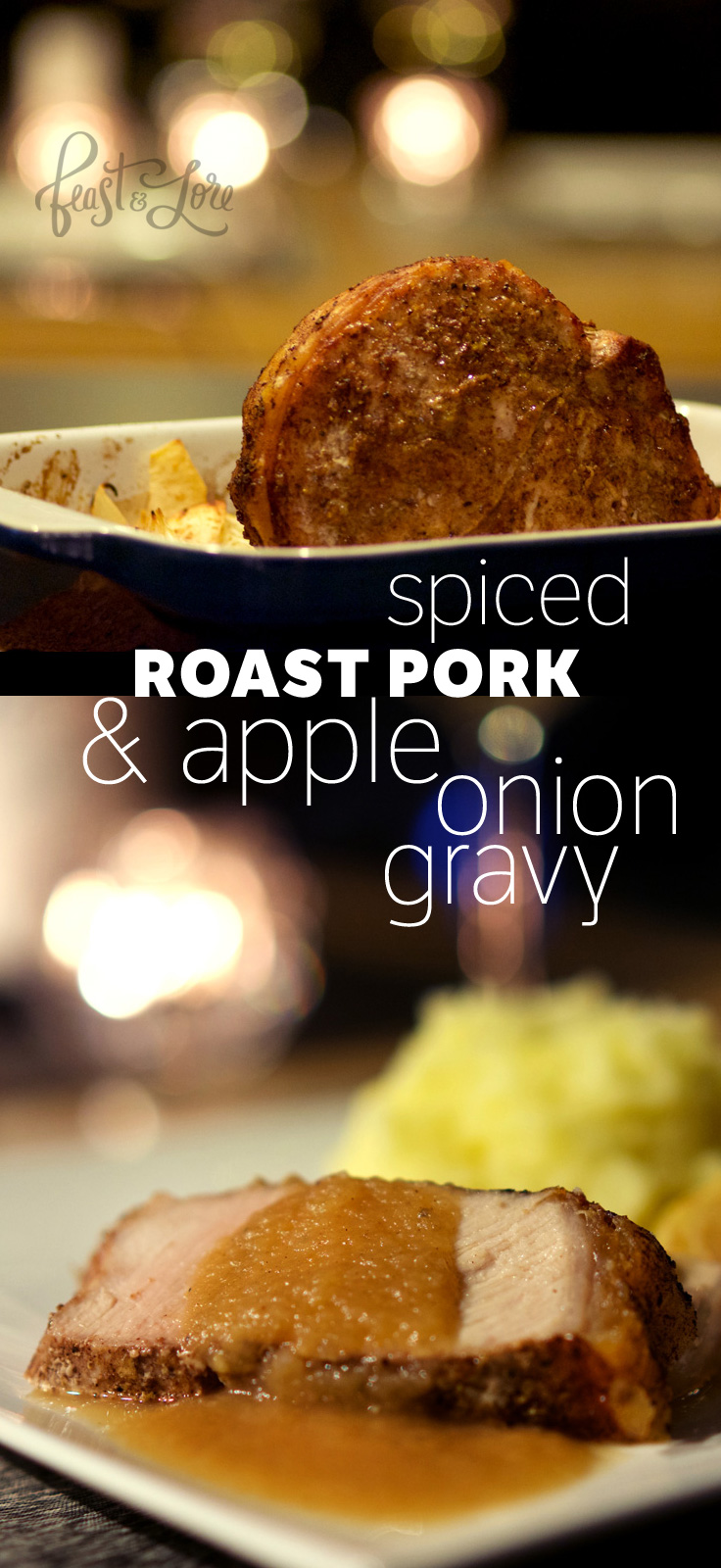 Spiced roast pork with apple onion gravy