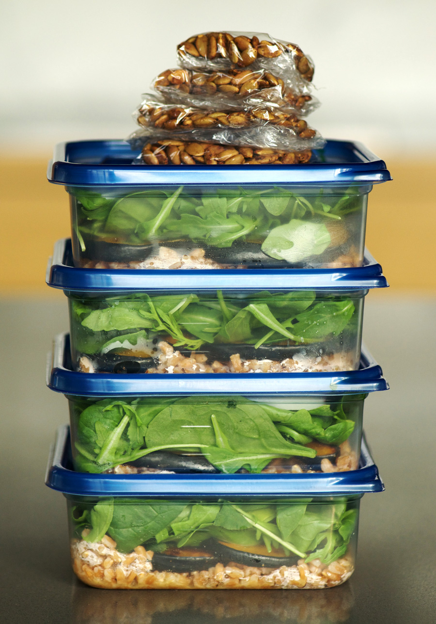 Lunch Prep Faro Squash Arugula Salad
