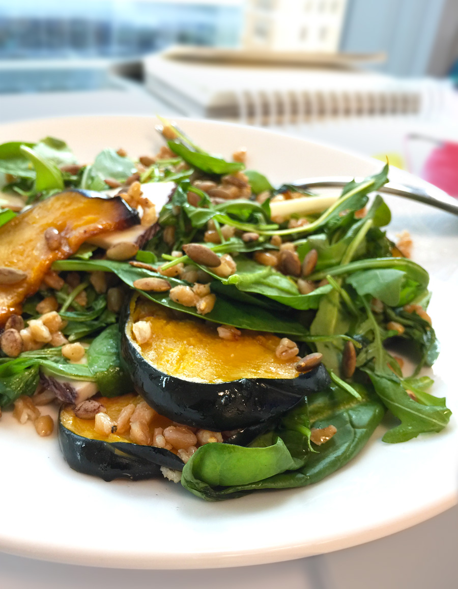 Peppery arugula, sweet squash, faro and a cider dressing make a satisfying lunch you can take to work