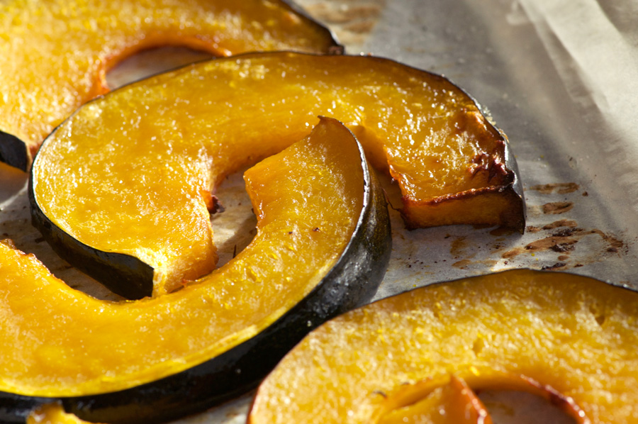 Roasted acorn squash slices fresh from the oven