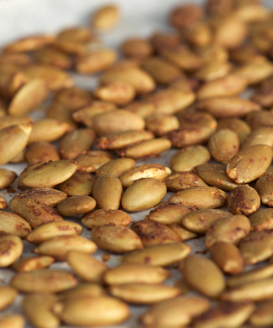 Raw pumpkin seeds are transformed into crunchy goodness