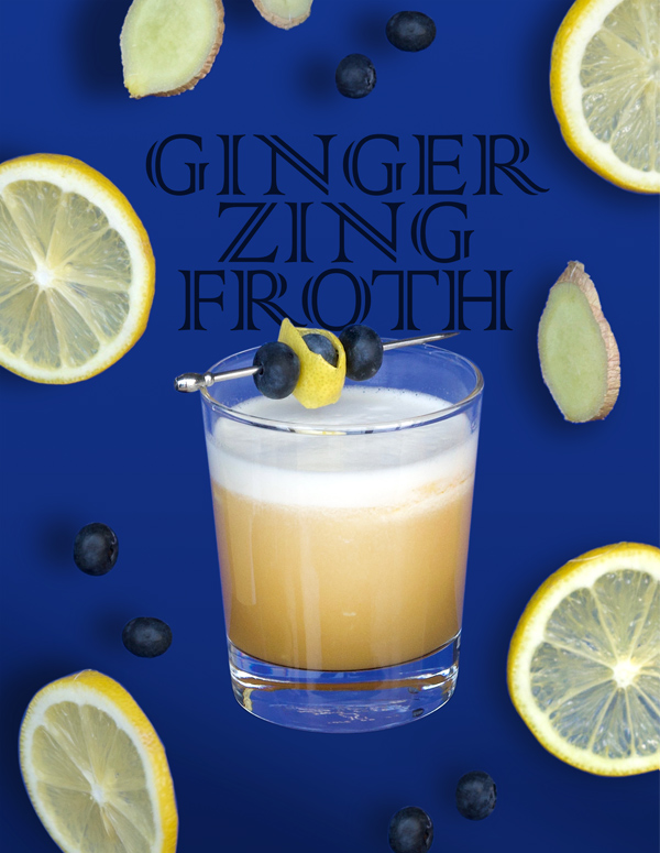 Amaretto Sour at its best with ginger, lemon zing and blueberry garnish