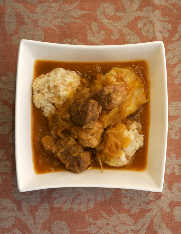 Hearty pork goulasch with sauerkraut