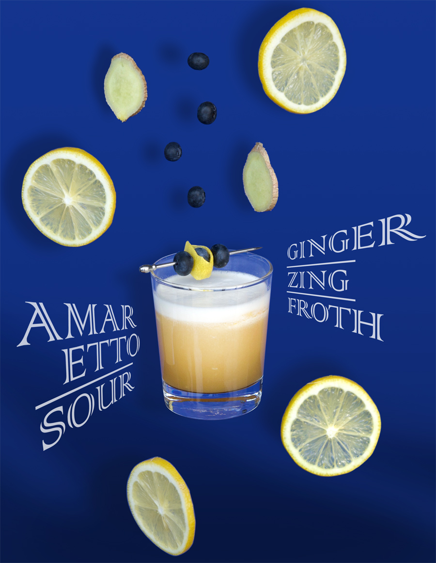Amaretto Sour: the fun drink with ginger, zing and froth!