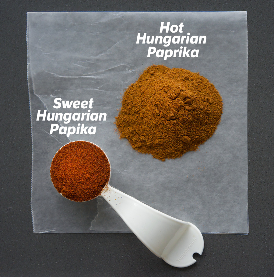 Sweet Paprika is a brighter red, while hot Paprika is more golden and smokey
