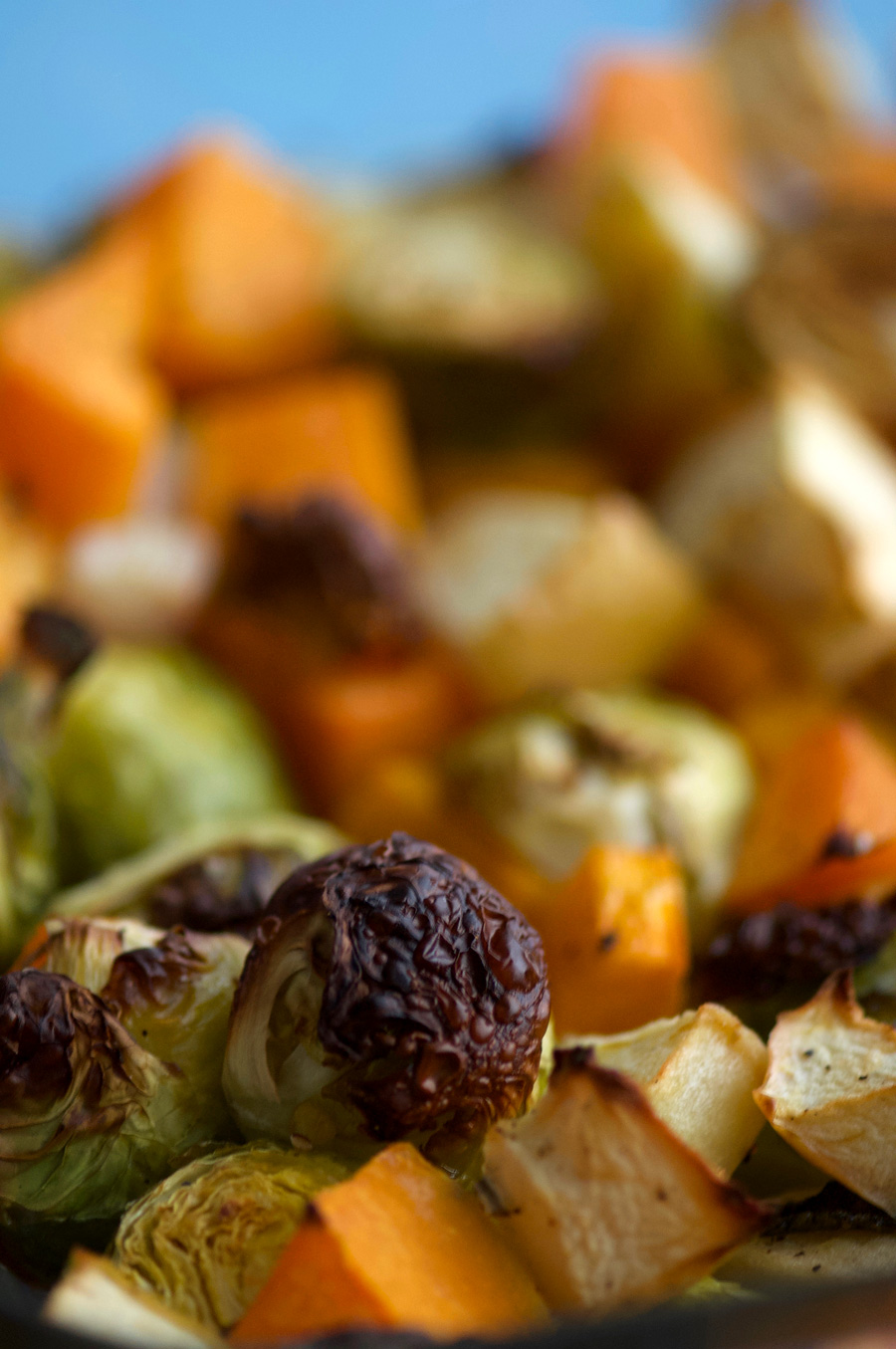 Golden roasted brussels sprouts and vegetable mix
