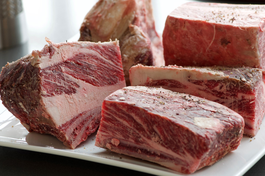 Notice the generous marbling of fat in the bone-in short rib meat