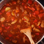 Hearty and delicious, a tomato broth with lot of fresh vegetables and sausage