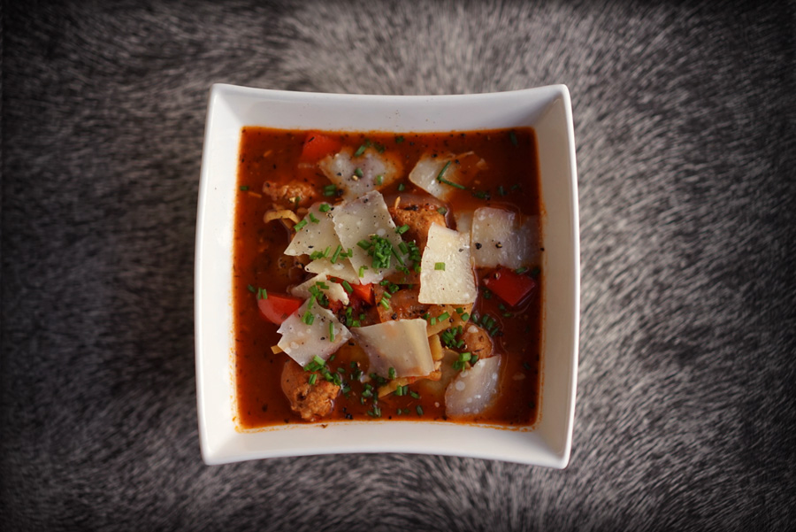 Italian Potato Sausage Soup with Red Peppers