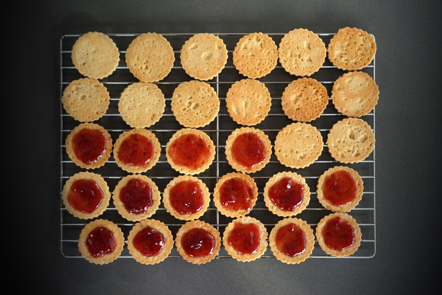 Raspberry Jam Filling on Linzer Cookies