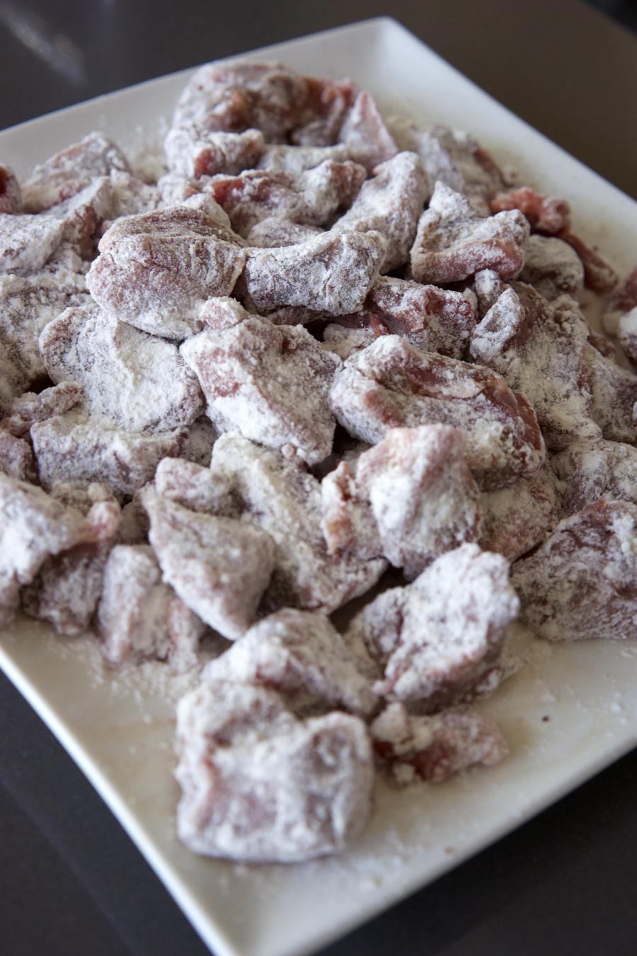 Lamb dredged in flour
