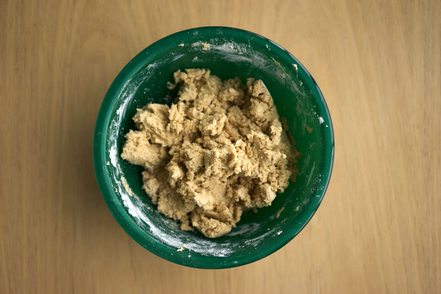 Linzer cookie dough whipped in bowl