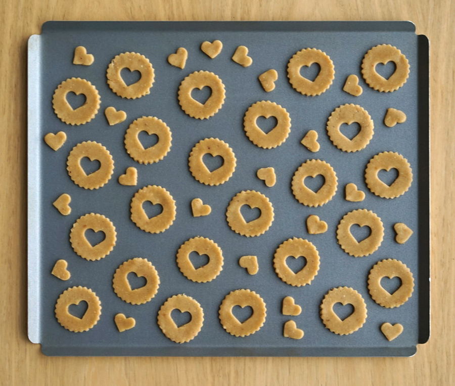 Linzer cookies with heart cutouts