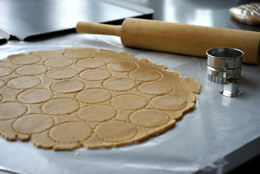 Linzer dough rolled out and cut