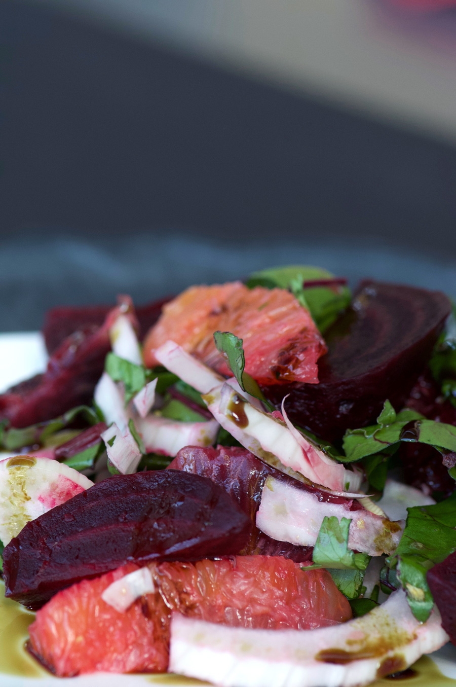 Close up of citrus and beets with fennel