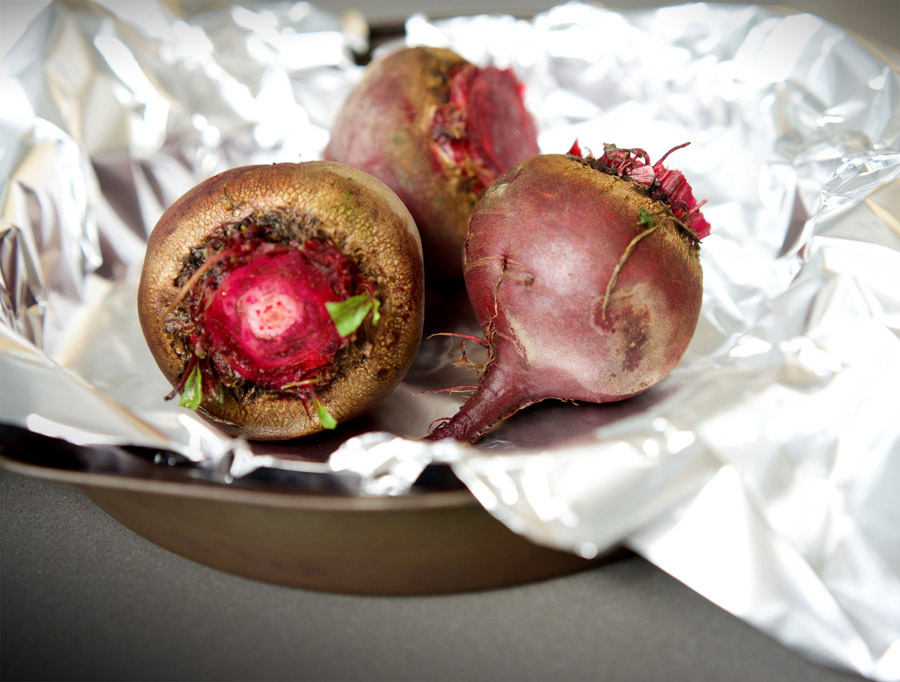 beets in foil ready to be roasted
