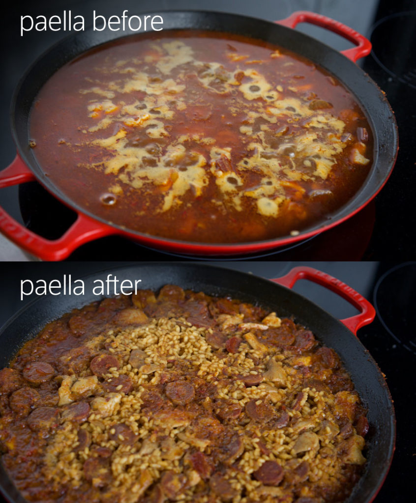 top photo shows lots of liquid in the pan, the after photo shows the liquid has been absorbed revealing chorizo and rice.