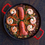 paella seafood dish photographed from above