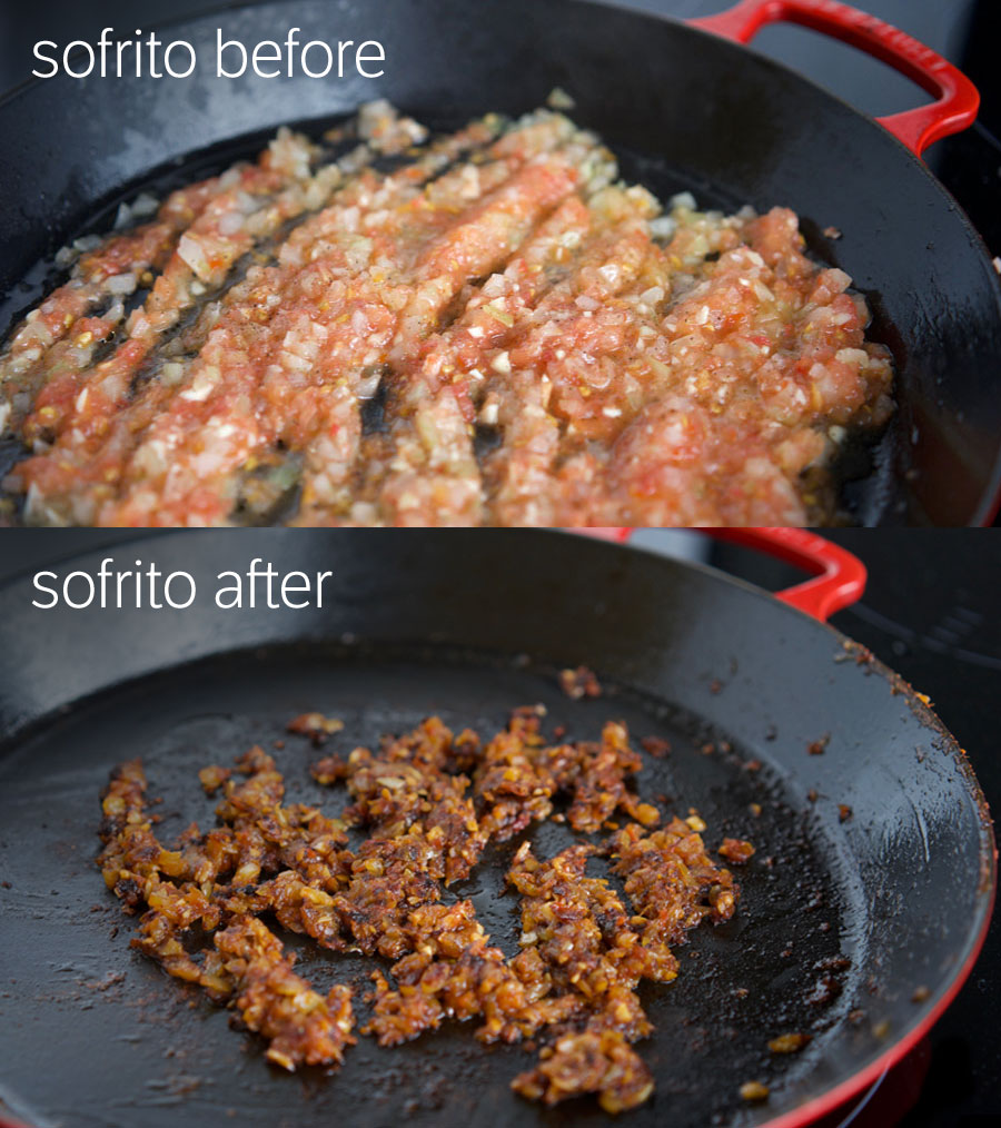 top photo shows sofrito in the early stages: light coloured and liquid. The bottom image shows the sofrito reduced down to less than half, quite dry and a deep brown colour.