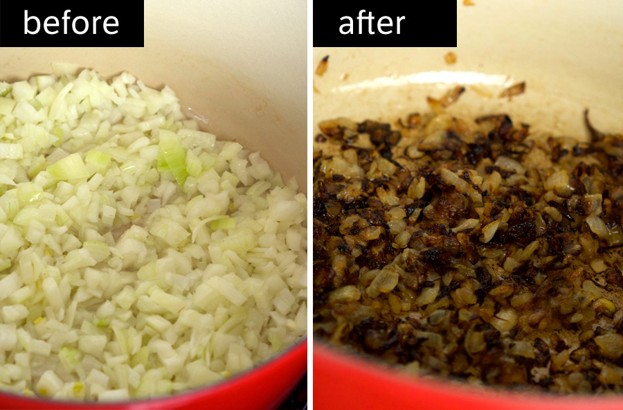 Onions before and after